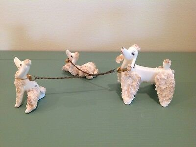 Vintage Mid-Century White Spaghetti Sugar Momma Poodle With Pups JAPAN