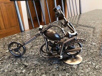 Nuts Bolts Washers Motorcycle Chopper Bike With Rider Tin Metal Art Sculpture