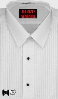 MENS Classic Fit White Formal Tuxedo Shirt LAYDOWN Collar New L-5
