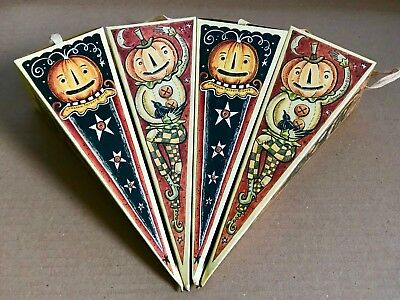 Lot of 4 Vtg Style Triangle Halloween Hanging Candy Ornie Boxes Johanna Parker