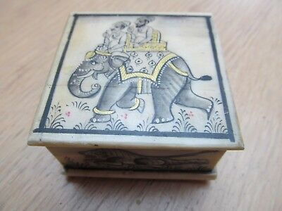 Indian Bone Trinket Box - Hand Painted with Elephant / Hunting Scenes