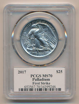2017 Palladium Eagle. First Strike. PCGS MS70 Edmund Moy Signed Label