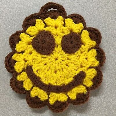 VTG Hand-Crocheted Smiley Face Hanging Potholder Yellow/Brown Crocheted Features