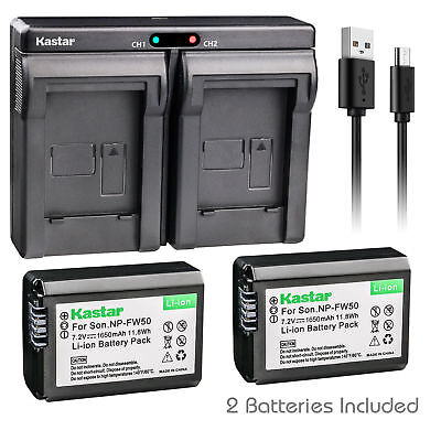 NP-FW50 Battery & Dual Charger for Sony ILCE-6000 Alpha a6000,  NEX-3, NEX-3N