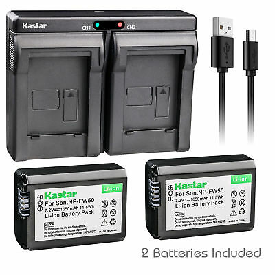 NP-FW50 Battery & Dual Charger for Sony ILCE-6300 Alpha a6300, NEX-5, NEX-5N
