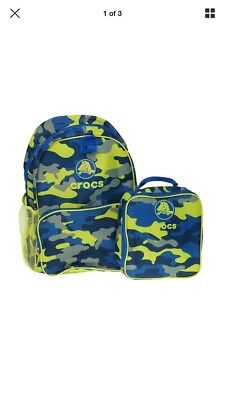 Crocs Girls//Boys//kids Backpack with matching lunchbox Outdoors
