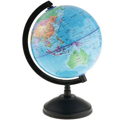 World Globe Earth Ocean Atlas Map Rotate Stand Kids School Geography Blue