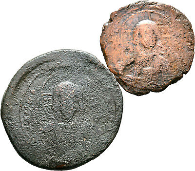 Byzantine Coins, Bust of Jesus AE Anonymous Basil II Ca. 976-10 AD Lot of 2