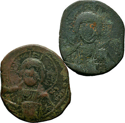 Byzantine Coins, Bust of Jesus AE Anonymous Basil II. (976-10 AD) Lot of 2