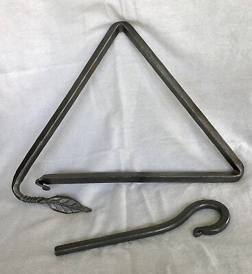 Hand Forged Wrought Iron Triangle Dinner Bell C W Young