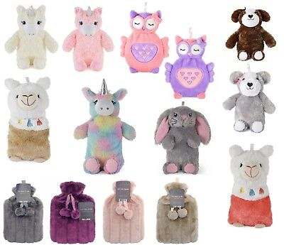 Hot Water Bottle 3D Unicorn Owl 750 ML Plush Novelty Natural Rubber Bottle