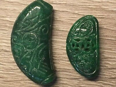 vintage Chinese imperial green jadeite jade double-sides carved pendant