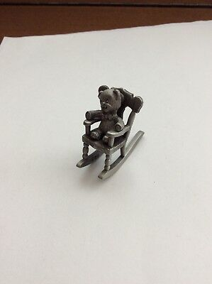 Vintage Miniature Pewter Figurine:  680 Teddy Bear Rocking Horse Spoontiques NOS