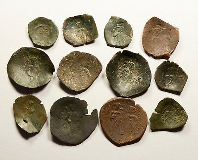 Lot Of 12 Ancient Byzantine Cup Coins - 020