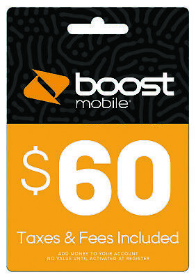 Boost Mobile $60 Refill FASTEST REFILL PIN card Credit applied DIRECTLY 2 ur acc