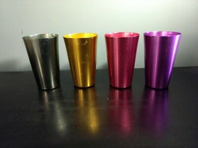 4 Anodized Aluminum Drinking Tumblers 16oz Vintage Retro Glasses Water Cup Set