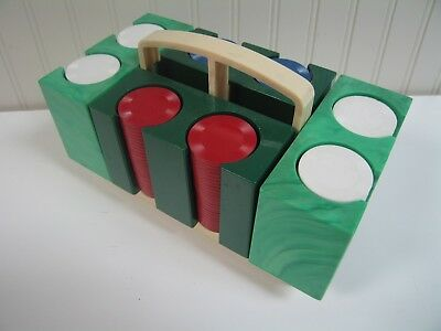 Vintage Set of Plastic Poker Chips in an Unusual Green Plastic Caddy. 4 Trays
