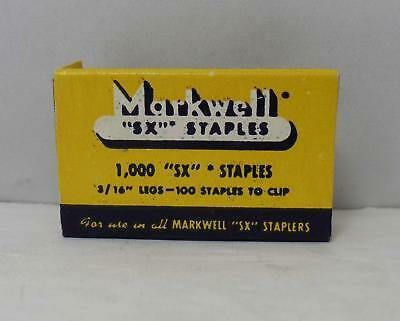 """Vintage 1949 Box of 1000 Markwell """"SX"""" Staples"""