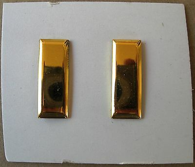 VINTAGE 1940s US ARMY 2nd LIEUTENANT INSIGNIA, OFFICER GRADE, METAL - UNISSUED