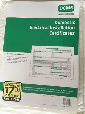 3 x Domestic Electrical Installation Certificate DCM6 Certificate x 1