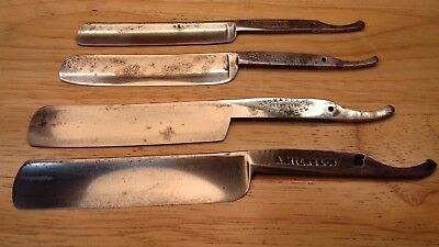 Four 4 Vintage Cut Throat Razor Blades Only Rasoio Rasier Navaja Rasiermesser