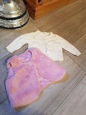 Baby girls cardigans 0-3 months and fur Gillet
