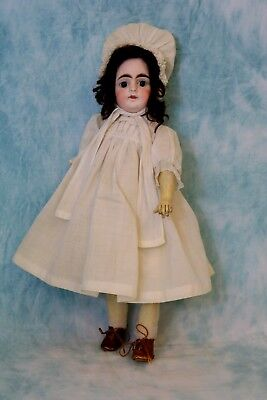 """Antique 14"""" Solid Dome Sonneberg 603 Closed Mouth German Bisque Doll William Goe"""