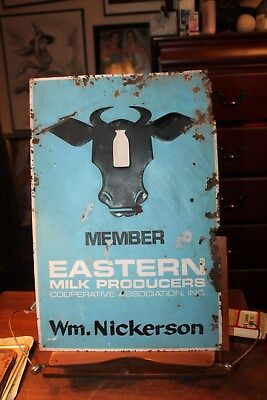 "1969 Eastern Milk Producers Cooperative Assoc. Metal Sign Wm. Nickerson 12""x18"""