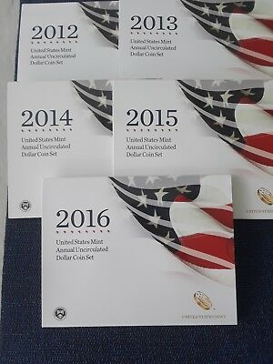 2012, 2013, 2014, 2015 & 2016 Mint Annual Dollar Sets wBurnished Silver Eagles