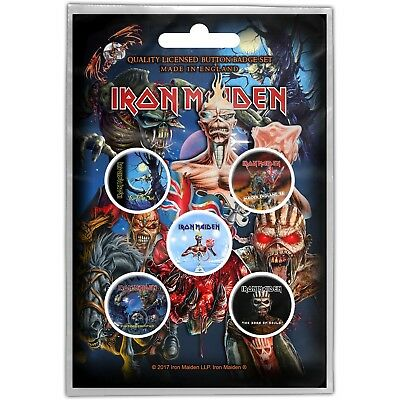 Official Merch 5-BADGE PACK Rock Metal Pin Badges Eddie IRON MAIDEN Later Albums