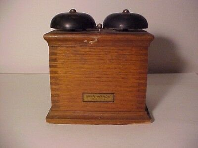 """Antique Western Electric 43AE Wood Bell Ringer Box 6"""" tall 5 1/2"""" wide"""
