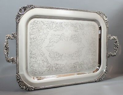 Silver plate on copper 2-handle Rococo serving tray shell floral scroll ornate