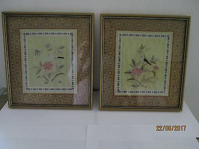 Two framed vintage oriental silk embroidery panels shabby chic