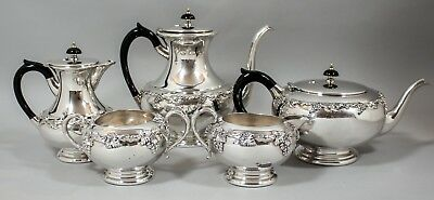 Vintage silver plate 5pc coffee/tea set hot water sugar milk grapevine relief