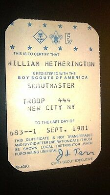 """Vintage  """"BOY SCOUTS of AMERICA"""" 1981 Certificate Card"""