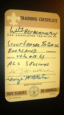 """Vintage """"Training Certificate-BOY SCOUTS of AMERICA"""" 1969 Card"""