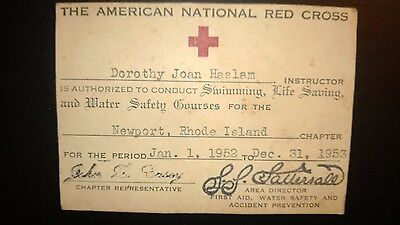 """Vintage """"THE AMERICAN NATIONAL RED CROSS""""-Instructor Certificate 1952-53"""