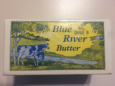 PAIR Old Vintage 1920's BLUE RIVER BUTTER BOX - CLARKS Creamery Blue River, WI