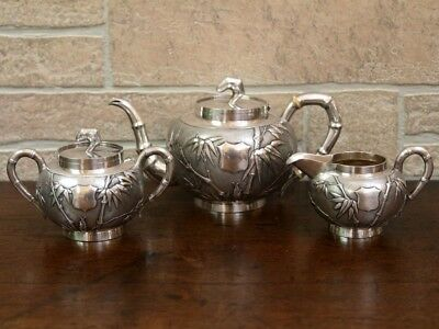 Antique Oriental Sterling Silver Tea Set, Tuck Chang, 19th Century Chinese.