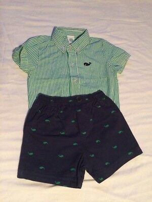 Baby Boys 9-12 Month Outfit Fred Perry Style Shirt & Shorts Green & Blue