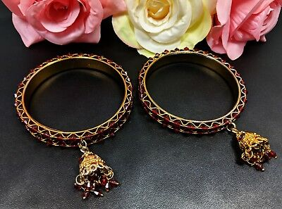 Lot of Two Vintage Gold Tone Red Charm Bangle Bracelets
