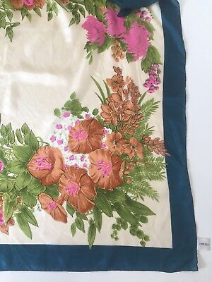 Large Square Vintage Hand Printed Hand Rolled Silk Scarf Floral Print Exc.cond