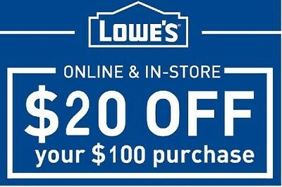 Lowes $20 off $100 Instant Delivery Online/In-Store 1COUPON W BARCODE-EXP 12/15