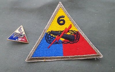 WWII US Army 6th Armored Division DUI Crest Pin Patch Lot Set