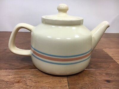 Vtg McCoy Pottery USA Teapot Ceramic Stoneware Blue Pink Stripe With Lid #165