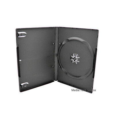 50 Standard 14mm Single CD DVD Black Movie Case Storage Box with Outter Cover
