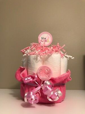 Mini Diaper Cake Hospital Gift First Visit Gift for Baby Girl It's A Girl