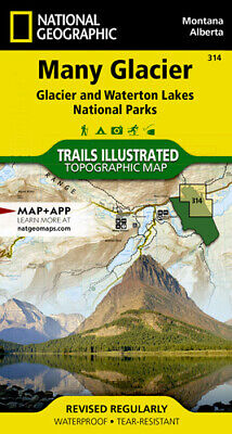 National Geographic Trails Illustrated MT Many Glacier Waterton Lakes NP Map 314