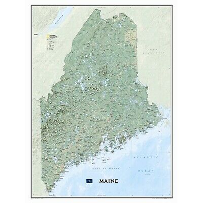 """NEW National Geographic Maine ME Wall Map 30.25"""" x 40.5"""" Standard RE01020521"""
