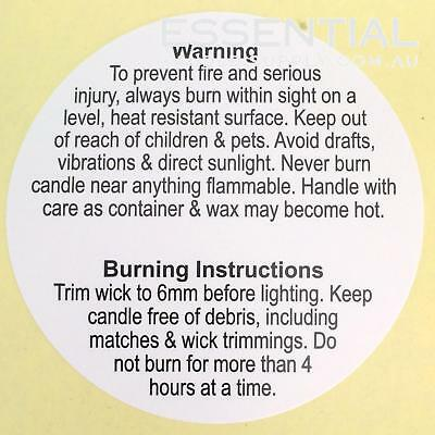 50 x Warning Labels 60mm, for Candle Making, All types of wax.